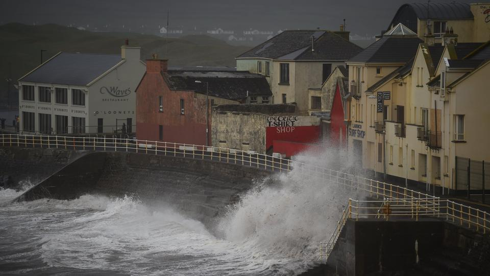 Waves batter the coast as Storm Ophelia hits the County Clare town of Lahinch, Ireland. Hurricane-force gusts were reported 30 years to the day after a weather event dubbed the 'Great Storm of 1987' battered southern England. Ireland's National Emergency Coordination Group on Severe Weather warned that the storm is still 'unprecedented, with serious life-threatening conditions.' (Clodagh Kilcoyne / REUTERS)