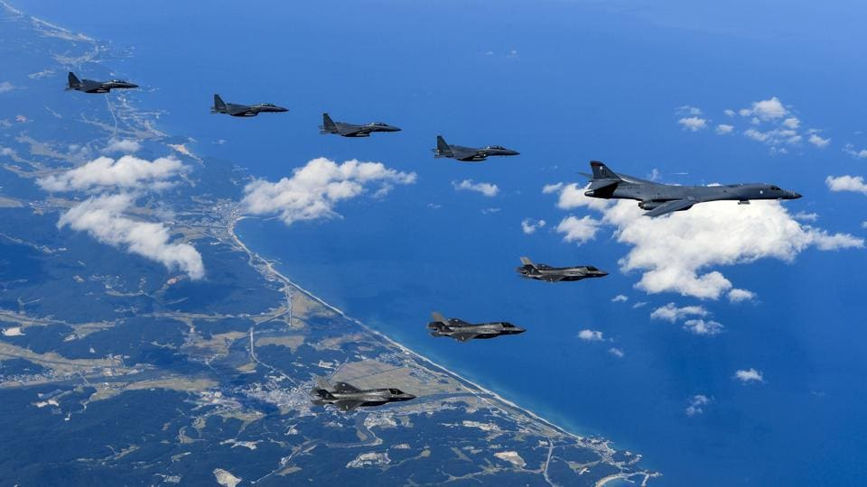 Air Force and Marine Corps aircraft conducting a mission with the South Korean air force over the Korean Peninsula on September 18, 2017.