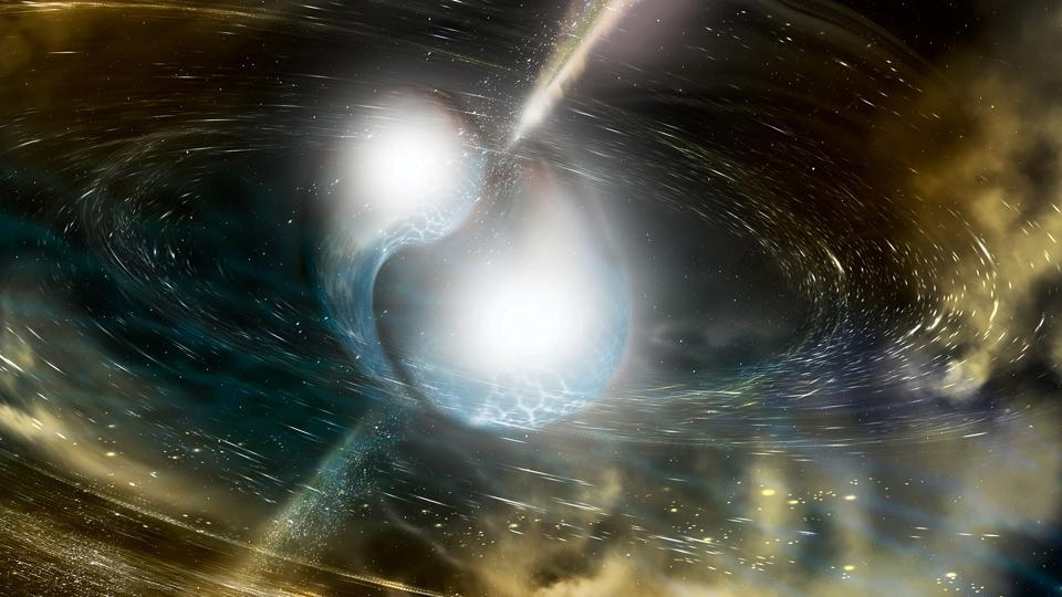 An illustration by the National Science Foundation show an artist's vision of two merging neutron stars.