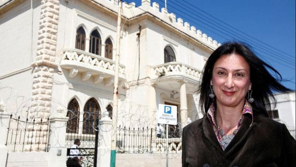 Maltese investigative journalist Daphne Caruana Galizia poses outside the Libyan Embassy in Valletta on April 6, 2011.