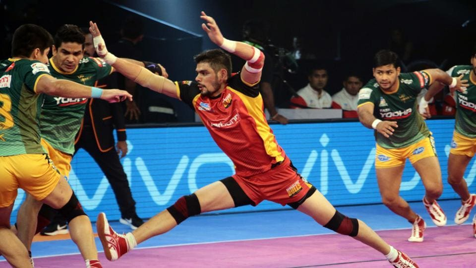 Bengaluru Bulls skipper Rohit Kumar in action against UP Yoddha during their Pro Kabaddi League (PKL) match in Pune on Tuesday.
