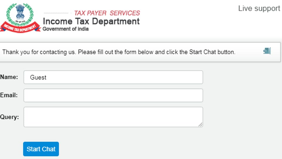 A window has been hosted on the main page of the department's website -- www.incometaxindia.gov.in/ -- with a prominent icon stating 'Live Chat Online- ask your query'.
