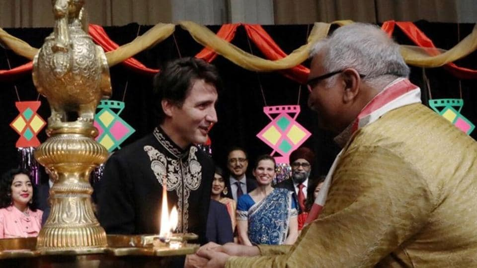 Canadian Prime Minister Justin Trudeau participating in a Diwali celebration in Ottawa on October 17, 2017.