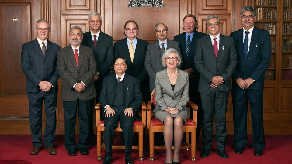 Supreme Court Chief Justice Dipak Misra and his Canadian counterpart Beverley McLachlin (seated in front) with delegates to the Sixth Indo-Canadian Legal Forum in Ottawa.