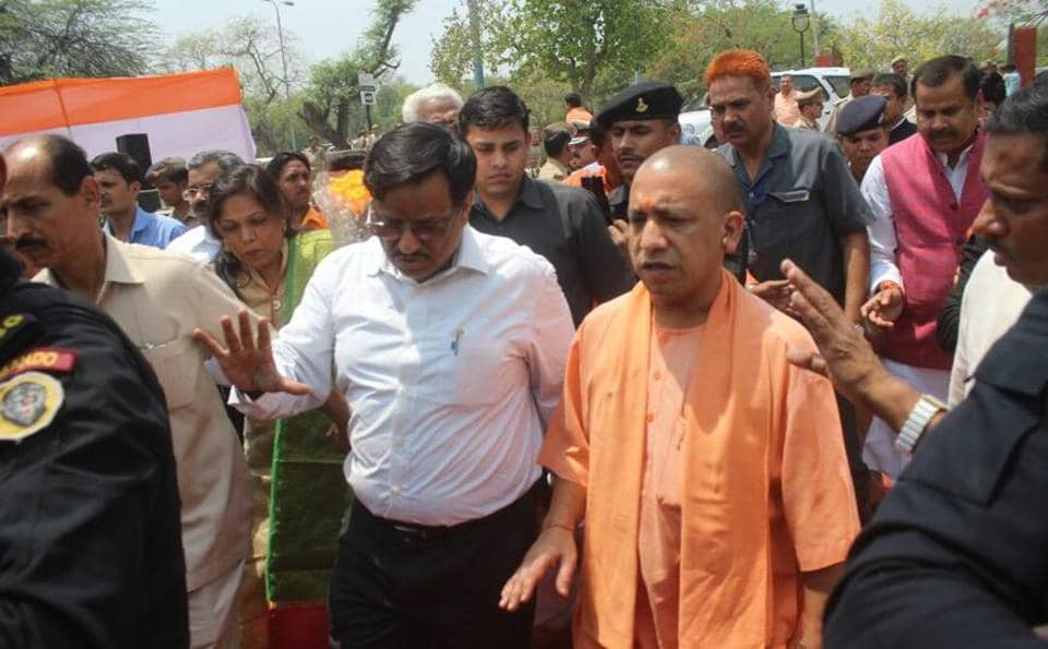 Yogi Adityanath on Yamuna riverfront between Agra Fort and Taj Mahal during his visit to Agra on May 7, 2017.