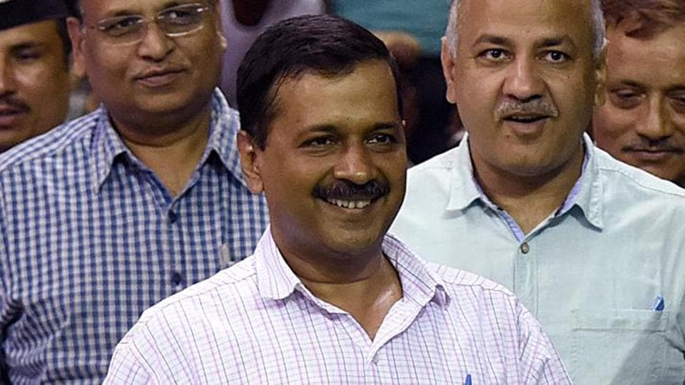 Delhi chief minister Arvind Kejriwal with deputy chief minister Manish Sisodia and health minister Satyendra Kumar Jain in New Delhi. The AAP is limbering up for a fight in Gujarat, where the BJP faces multi-term anti-incumbency and where the Congress has been out of power since 1995.