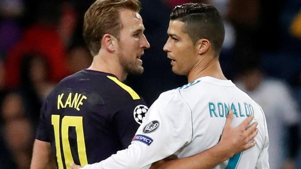 Real Madrid C.F. striker Cristiano Ronaldo and Tottenham Hotspur star Harry Kane greet each other after their UEFAChampions League football match in Madrid on Tuesday. Mauricio Pochettino's Spurs held Madrid 1-1 in the match played at the Santiago Bernabeu.