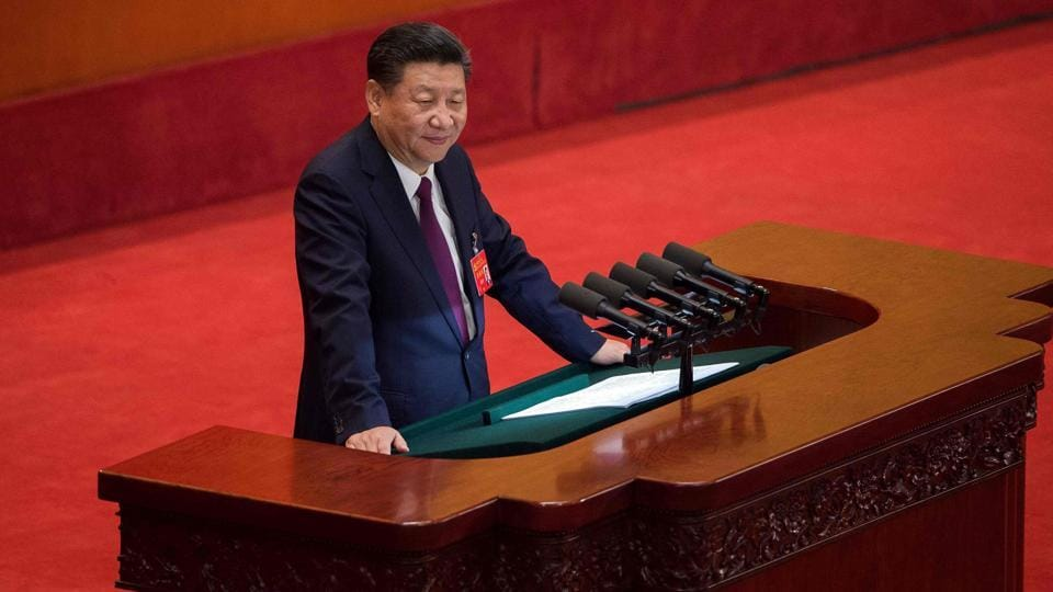 China's President Xi Jinping gives a speech at the opening session of the Chinese Communist Party's five-yearly Congress at the Great Hall of the People in Beijing.