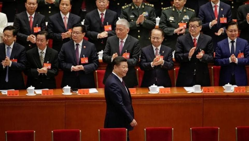 Chinese President Xi Jinping arrives at the opening of the 19th National Congress of the Communist Party of China in Beijing on Wednesday.