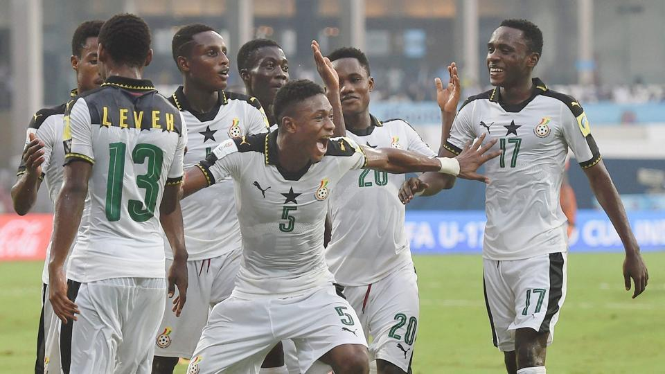 Ghana players celebrate after scoring a goal against Niger during a FIFA U-17 World Cup match at D Y Patil Stadium in Navi Mumbai.