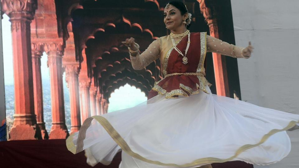 Actress and kathak exponent Sharvari Jamenis performs 'Footprint' a kathak dance recital organised by the Sarvotkarsh Trust at Shaniwarwada on Wednesday. The recital was held as a part of the Diwali Pahat legacy in the city.