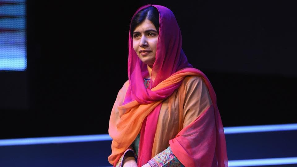 Malala Yousafzai is pictured during a meeting with students of the Telmex-Telcel Foundation at the National Auditorium in Mexico City.