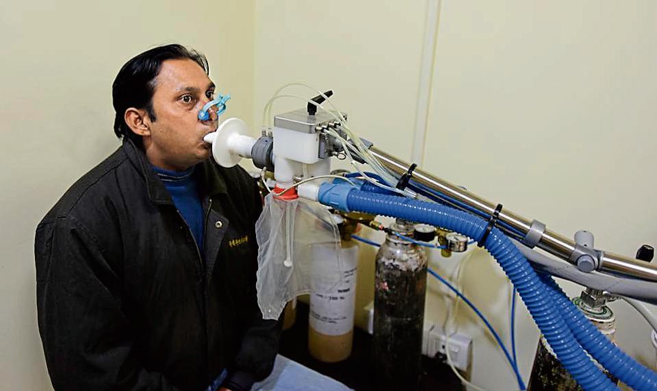 A patient gets tested for lung problems at a city hospital. Last year, spirometry tests conducted by the Delhi government on citizens to check lung function, found that more than 34% of the people checked had impaired lung function.