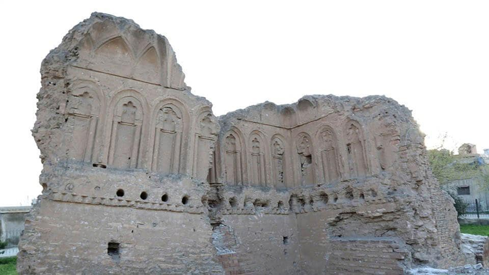 A file photo posted online on March 22, 2015, by the Islamic State group, shows the ruins of historic Qasr al-Banat, or Girls' Palace, in modern day Raqqa city in northern Syria.
