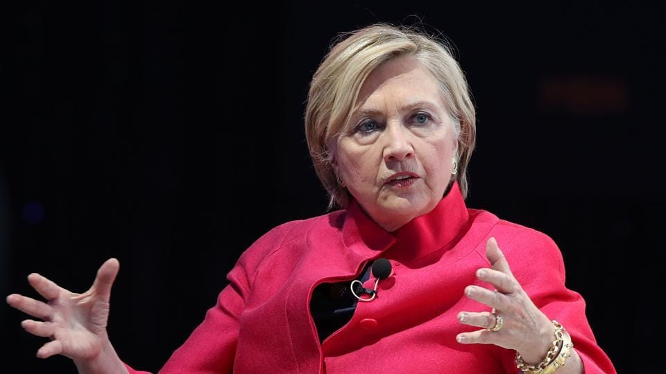 Former US secretary of state Hillary Clinton speaking at the World Knowledge Forum in Seoul.