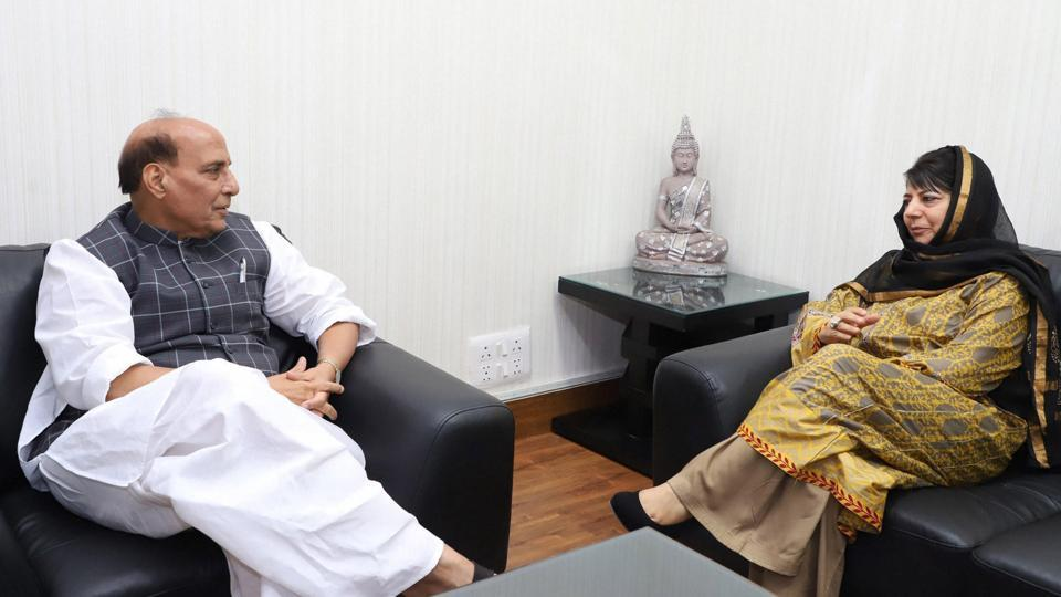 Jammu and Kashmir chief minister Mehbooba Mufti calls on Union home minister Rajnath Singh in New Delhi on Wednesday.