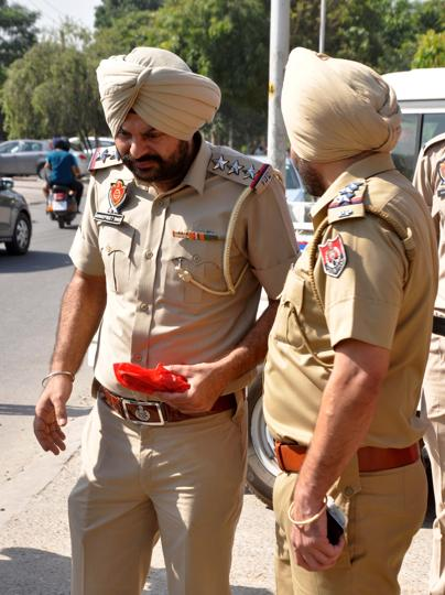 Investigation underway at Phase 10 in Mohali on Wednesday.