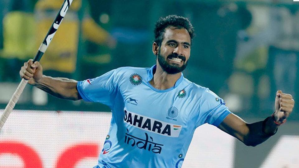 Gurjant Singh celebrates after scoring for India against Malaysia in their Asia Cup hockey match.