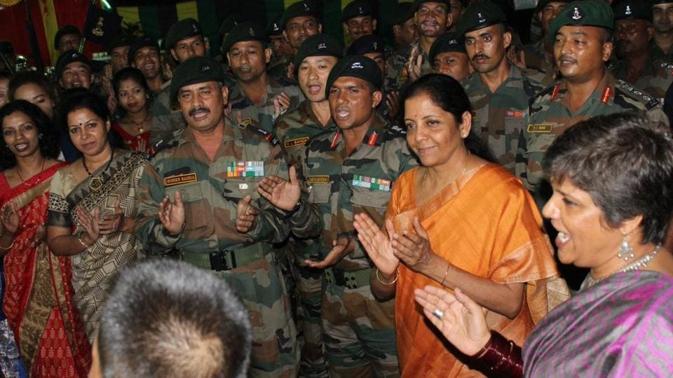 Defence Minister Nirmala Sitharaman celebrates Diwali with troops and their families at Tri-Services Command.