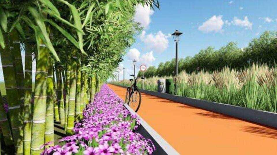 The cycling track is meant to curb encroachments and give citizens another environment-friendly transportation method.