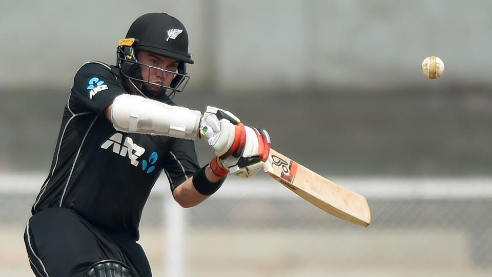New Zealand cricketer Tom Latham plays a shot during the second warm up cricket match between New Zealand and India at the Cricket Club of India (CCI) stadium in Mumbai on October 19, 2017.