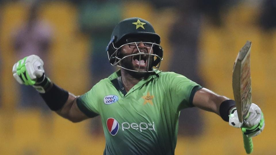 Pakistan cricket team's Imam-ul-Haq, nephew of Inzamam-ul-Haq, celebrates after completing his century during the third ODI against Sri Lanka cricket team in Abu Dhabi, UAE, on Wednesday.