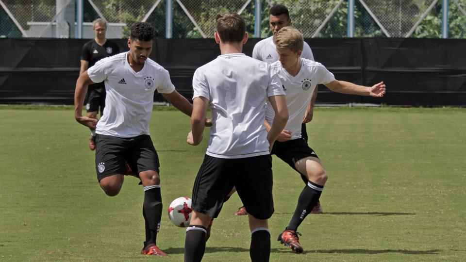 German players train ahead of their FIFA U-17 World Cup quarterfinal vs Brazil.