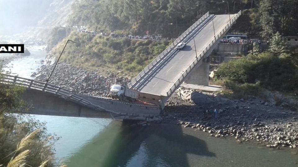 Six injured after a bridge collapsed in Himachal Pradesh's Chamba on Thursday.