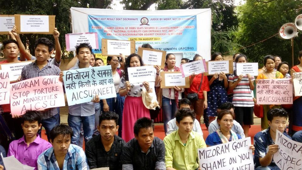 Chakma students protest in New Delhi against alleged discrimination against the community in Mizoram.  Granting of citizenship rights to the community is also facing stiff resistance in Arunachal Pradesh.
