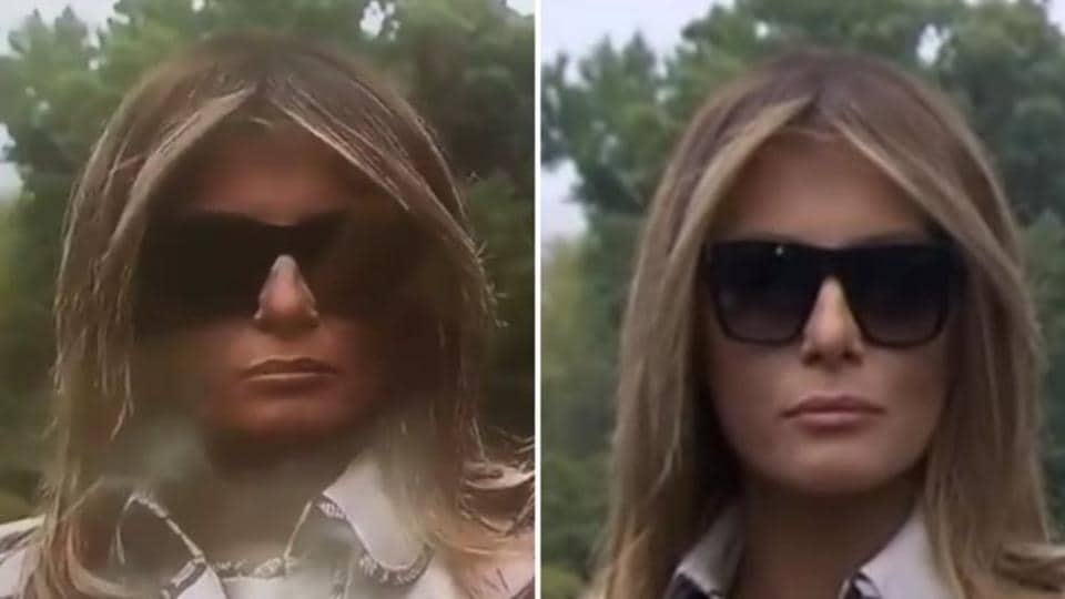 A combo of Melania Trump from the widely circulated Facebook video (left) and the original video on CNN.