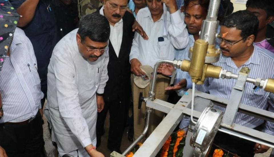 Oil Minister Dharmendra Pradhan at the Decompression Unit of PNG Supply at Butterfly Garden, Nalco Nagar, Bhubaneswar.