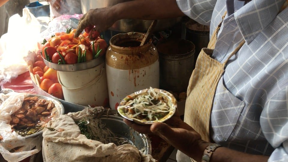 Mattra or muttar chholey served with kulchey is one of Delhi's lip-smacking street food items.