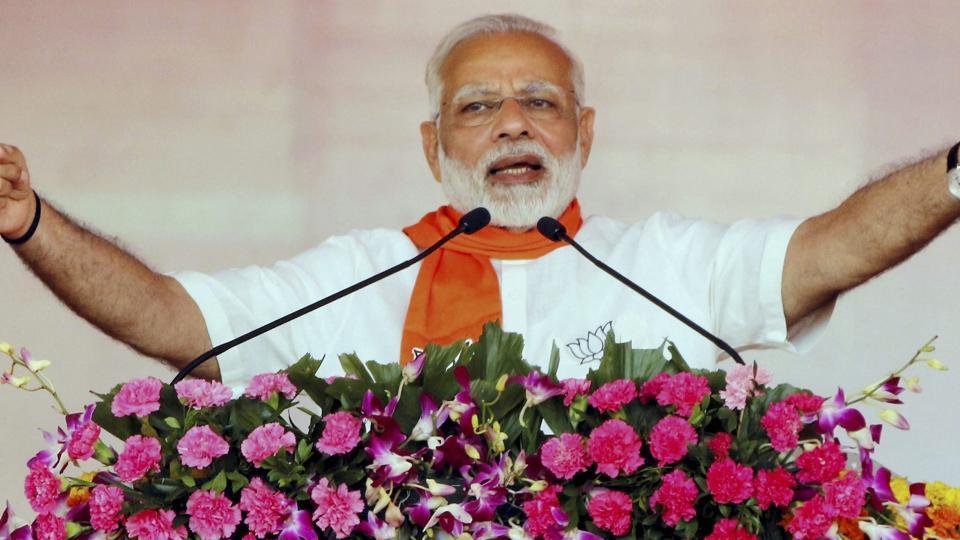 Prime Minister Narendra Modi during the Gujarat Gaurav Mahasammelan in Ahmedabad on October 16.