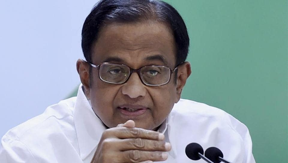 Former Finance Minister and Congress leader P Chidambaram addresses a press conference at AICC in New Delhi on Wednesday.