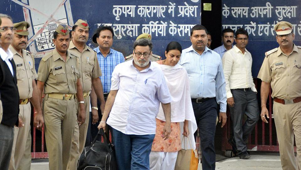 Rajesh and Nupur Talwar were released from a jail on Monday, four days after being acquitted by Allahabad High Court for the murder of their teenage-daughter Aarushi and domestic help Hemraj in their apartment in Noida in 2008. (Sakib Ali / HT Photo)