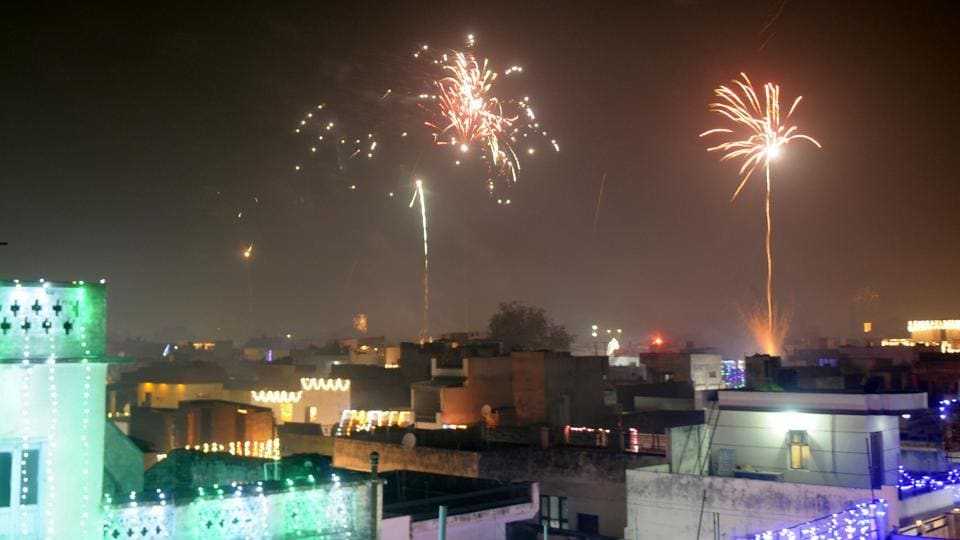 Residents celebrate Diwali in Patiala on Thursday night.
