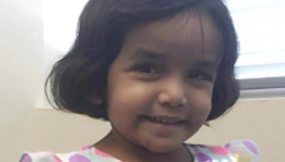 This undated photo provided by the Richardson Texas Police Department shows 3-year-old Sherin Mathews. Authorities are searching for the girl who went missing over the weekend when her father allegedly made her stand outside in the middle of the night as punishment for not drinking her milk.