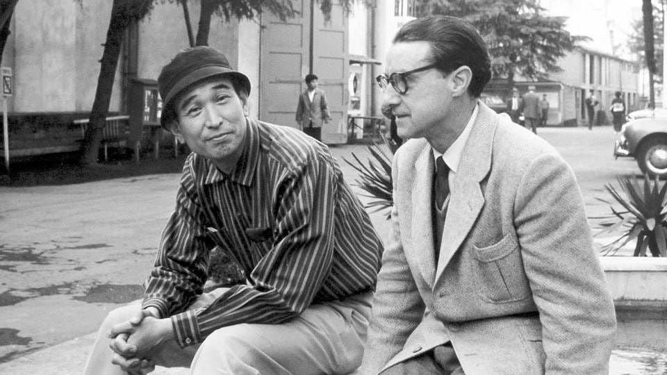 On his second visit to Japan in 1960,  José  Suárez (right)  interviewed and met director Akiro Kurosawa (left) and made a reportage of the film that the director was working on at the time, 'The Bad Sleep Well.' (José Suárez)