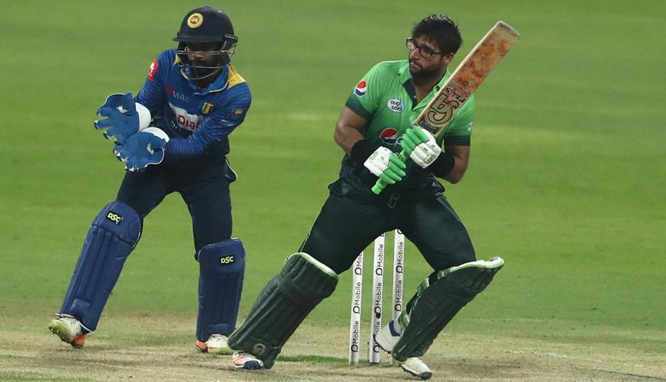 Imam-ul-Haq of Pakistan cricket team glances the ball to the outfield during his century innings against Sri Lanka cricket team in the third ODI at Zayed Cricket Stadium in Abu Dhabi on Wednesday.