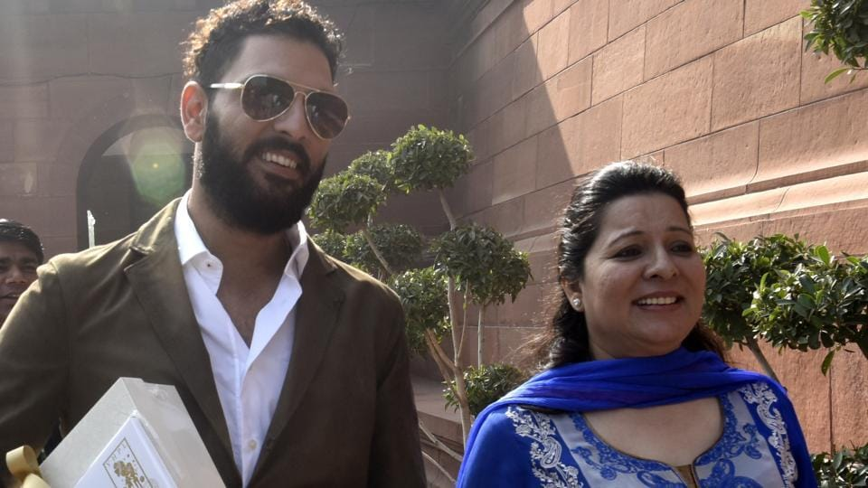 Indian cricketer Yuvraj Singh with his mother Shabnam Singh.