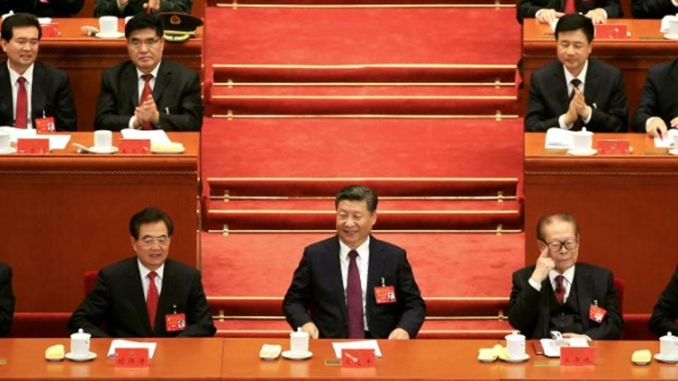 Chinese president Xi Jinping at the centre of the gathering for the 19th National Congress of the Communist Party of China in Beijing.