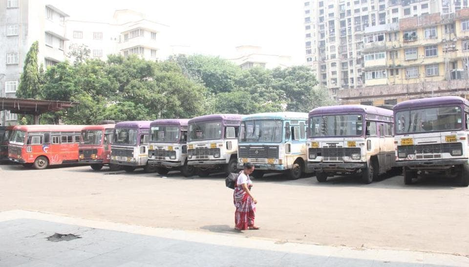 MSRTC buses parked inside Bombay Centenl depot as the ST strike continues on third day, in Mumbai, India, on Thursday, October 19, 2017.