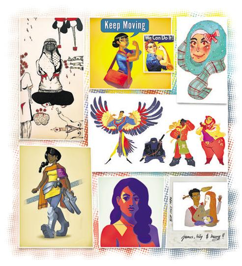 Some of the art submitted as part of the Twitter campaign #SouthAsianArtists, which saw over 2,000 submissions from over 100 artists across India, Pakistan, Sri Lanka, Bangladesh and the Philippines. The hashtag was inspired by others such as #DrawingWhileBlack and #LatinoHispanicArtists.
