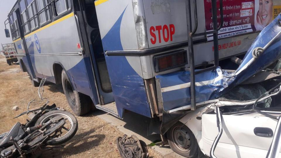 A collision between a bus, a car and a motorbike in Sangrur