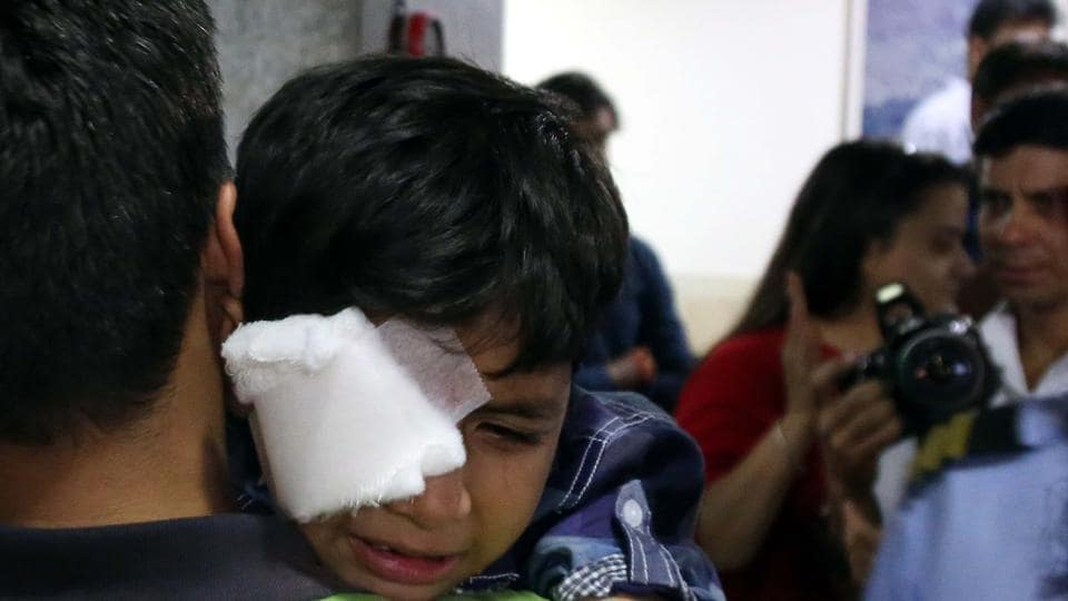 Rachit, 7, of Kharar had to undergo surgery at the PGIMER after damaging his right eye while lighting a cracker.
