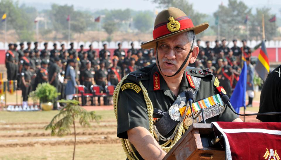 Chief of Army Staff, General Bipin Rawat addresses media after the presentation of the 'President's Standard' to 47 Armoured Regiment at the Sunjawan Military Station in Jammu on October 21, 2017.