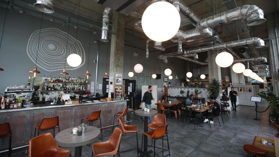 The common restaurant area where people can easily meet each other at the Old Oak. The Collective, whose first shared building was funded by a 'Singapore family' for an undisclosed amount, is launching two other projects in east London. (Daniel Leal-Olivas / AFP)