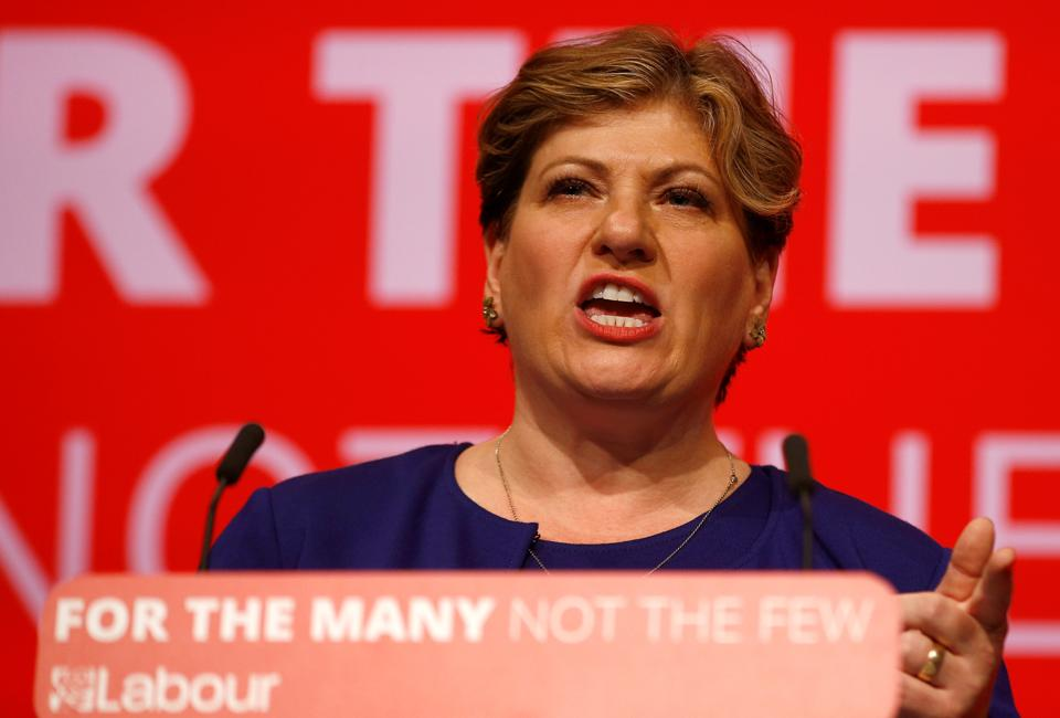 Britain's opposition Labour Party shadow foreign secretary Emily Thornberry speaks at the Labour party Conference in Brighton.