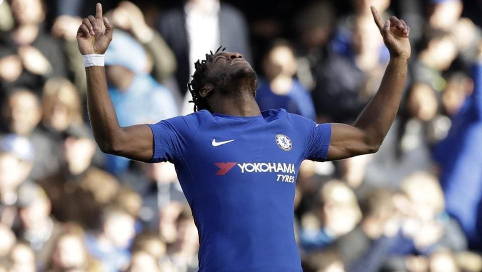 Chelsea's Michy Batshuayi celebrates scoring his second goal during the English Premier League match between Chelsea and Watford at Stamford Bridge in London, Saturday, Oct. 21, 2017.