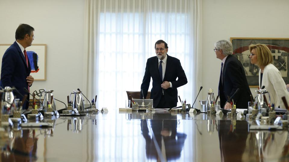 Spain's Prime Minister Mariano Rajoy heads a special cabinet meeting at the Moncloa Palace in Madrid, Spain on October 21.